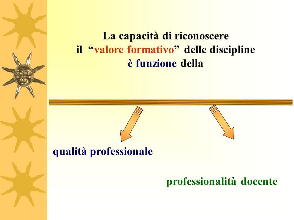 """La capacità di riconoscere il """"valore formativo"""" delle discipline è funzione della qualità professionale professionalità docente"""