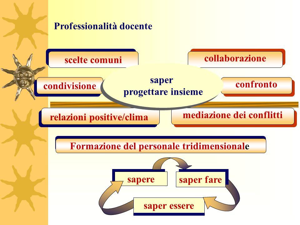 sapere relazioni positive/clima scelte comuni collaborazione condivisione confronto mediazione dei conflitti Formazione del personale tridimensionale