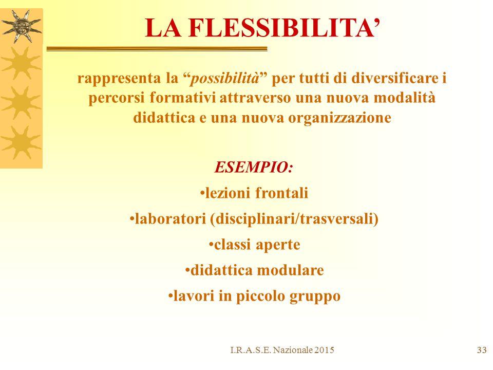 """33 LA FLESSIBILITA' rappresenta la """"possibilità"""" per tutti di diversificare i percorsi formativi attraverso una nuova modalità didattica e una nuova o"""