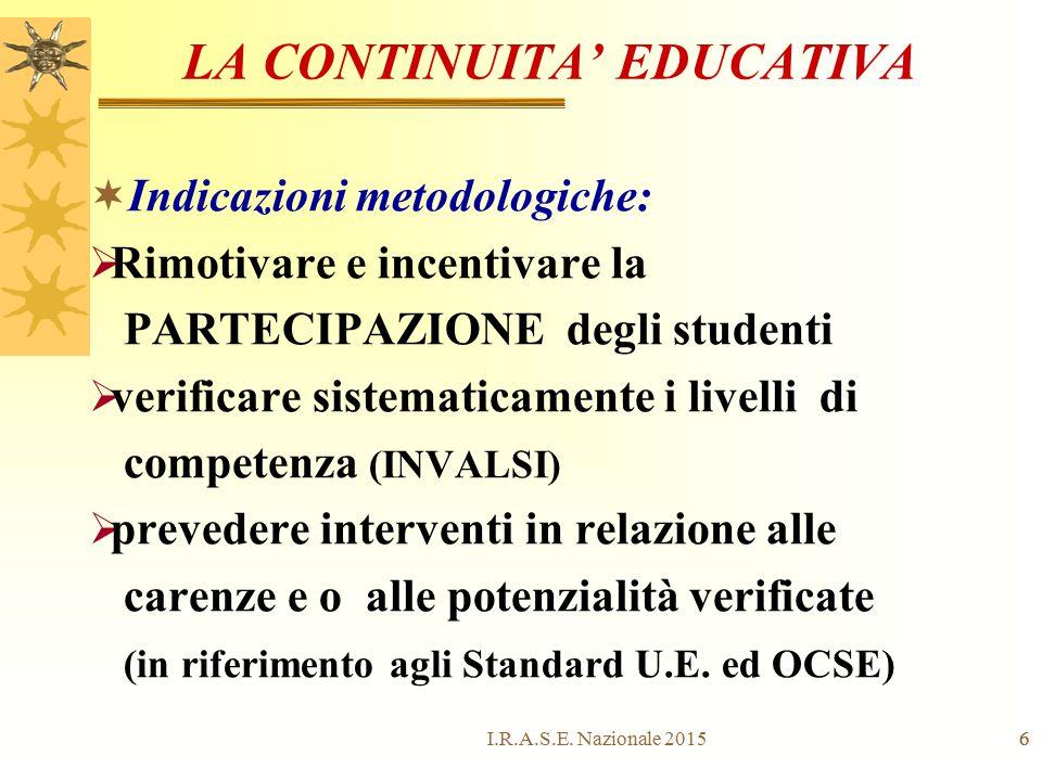 6 LA CONTINUITA' EDUCATIVA  Indicazioni metodologiche:  Rimotivare e incentivare la PARTECIPAZIONE degli studenti  verificare sistematicamente i li