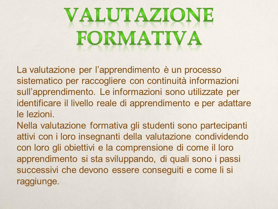 La valutazione per l'apprendimento è un processo sistematico per raccogliere con continuità informazioni sull'apprendimento.