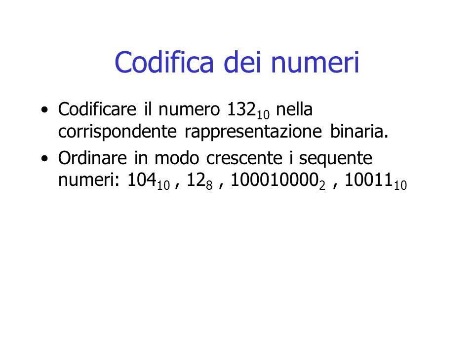 Codifica dei numeri Codificare il numero 132 10 nella corrispondente rappresentazione binaria. Ordinare in modo crescente i sequente numeri: 104 10, 1