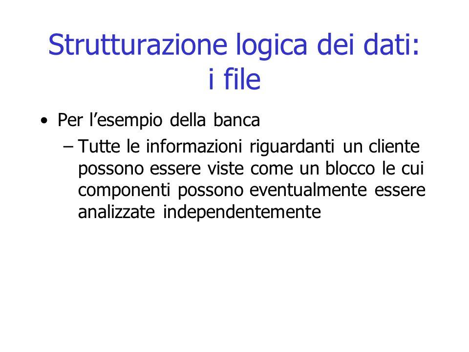 Strutturazione logica dei dati: i file Per l'esempio della banca –Tutte le informazioni riguardanti un cliente possono essere viste come un blocco le