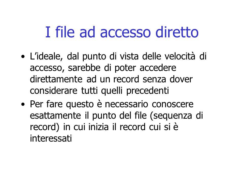 I file ad accesso diretto L'ideale, dal punto di vista delle velocità di accesso, sarebbe di poter accedere direttamente ad un record senza dover cons