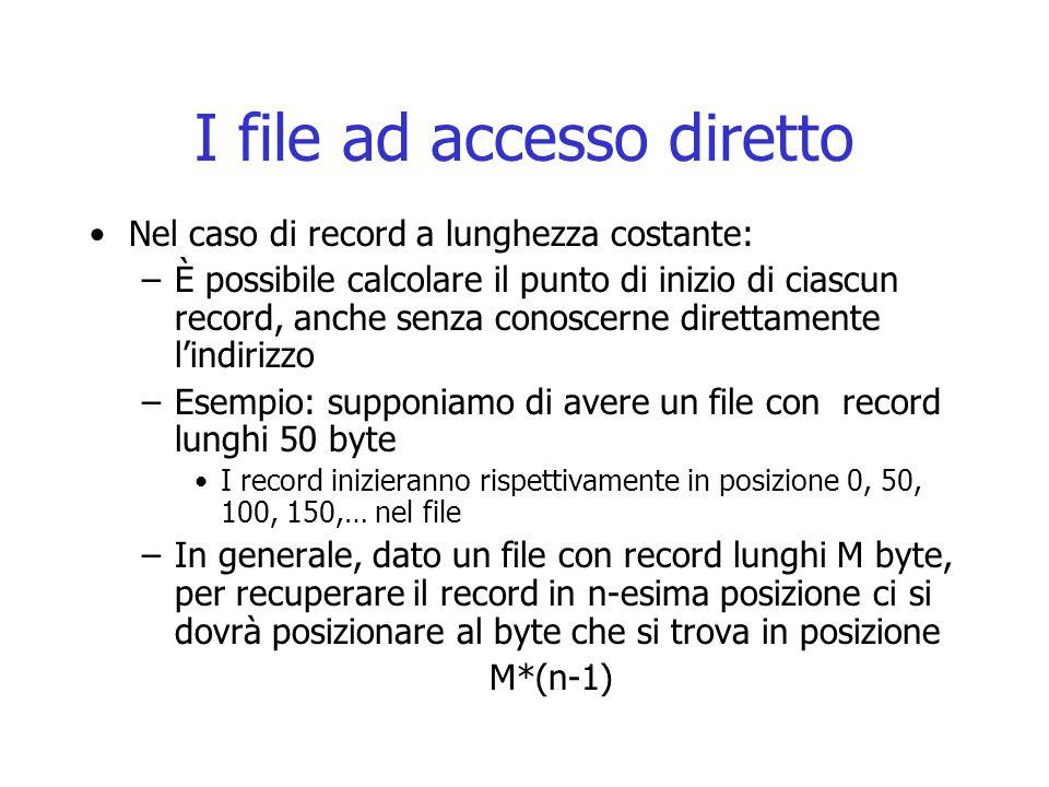 I file ad accesso diretto Nel caso di record a lunghezza costante: –È possibile calcolare il punto di inizio di ciascun record, anche senza conoscerne