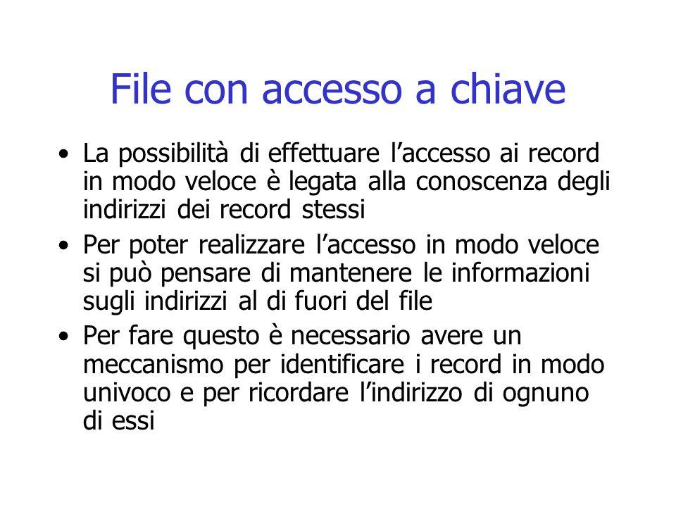 File con accesso a chiave La possibilità di effettuare l'accesso ai record in modo veloce è legata alla conoscenza degli indirizzi dei record stessi P