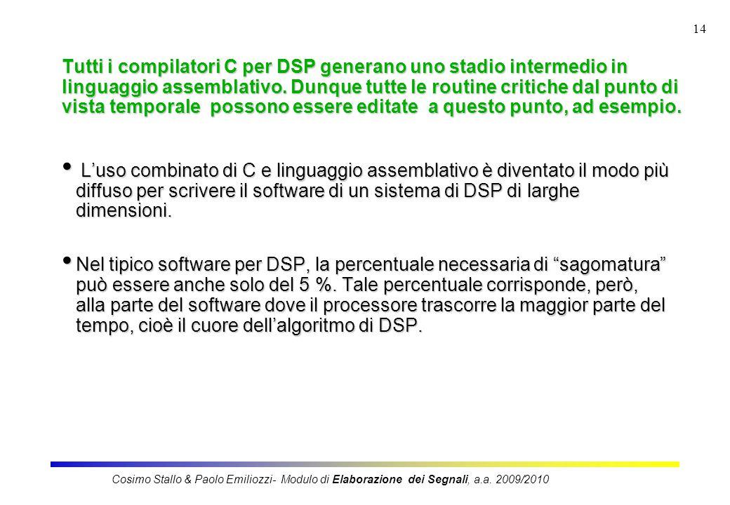 14 Tutti i compilatori C per DSP generano uno stadio intermedio in linguaggio assemblativo.