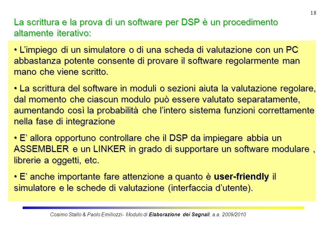 18 La scrittura e la prova di un software per DSP è un procedimento altamente iterativo: L'impiego di un simulatore o di una scheda di valutazione con un PC abbastanza potente consente di provare il software regolarmente man mano che viene scritto.