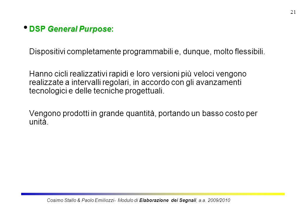 21 General Purpose DSP General Purpose: Dispositivi completamente programmabili e, dunque, molto flessibili. Hanno cicli realizzativi rapidi e loro ve