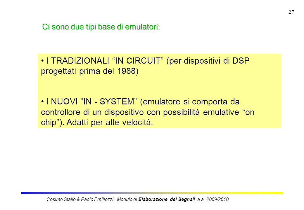 27 Ci sono due tipi base di emulatori: I TRADIZIONALI IN CIRCUIT (per dispositivi di DSP progettati prima del 1988) I TRADIZIONALI IN CIRCUIT (per dispositivi di DSP progettati prima del 1988) I NUOVI IN - SYSTEM (emulatore si comporta da controllore di un dispositivo con possibilità emulative on chip ).