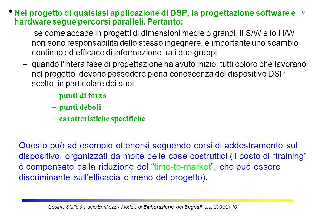 9 Nel progetto di qualsiasi applicazione di DSP, la progettazione software e hardware segue percorsi paralleli.