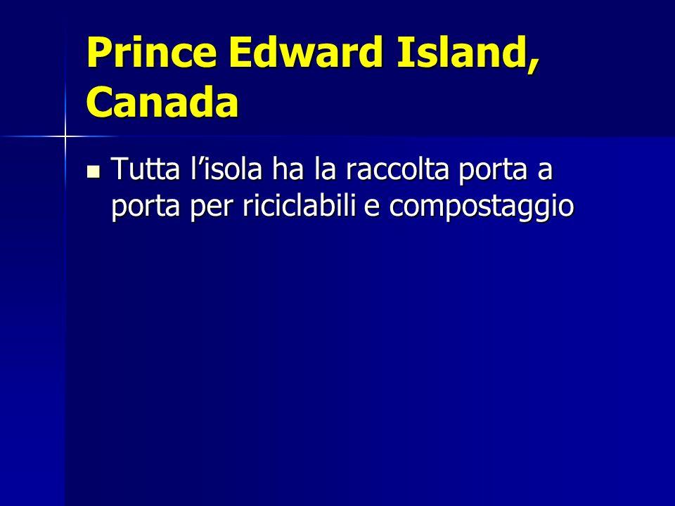 Prince Edward Island, Canada Tutta l'isola ha la raccolta porta a porta per riciclabili e compostaggio Tutta l'isola ha la raccolta porta a porta per riciclabili e compostaggio