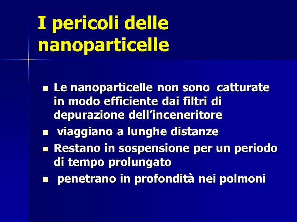 I pericoli delle nanoparticelle Le nanoparticelle non sono catturate in modo efficiente dai filtri di depurazione dell'inceneritore Le nanoparticelle non sono catturate in modo efficiente dai filtri di depurazione dell'inceneritore viaggiano a lunghe distanze viaggiano a lunghe distanze Restano in sospensione per un periodo di tempo prolungato Restano in sospensione per un periodo di tempo prolungato penetrano in profondità nei polmoni penetrano in profondità nei polmoni