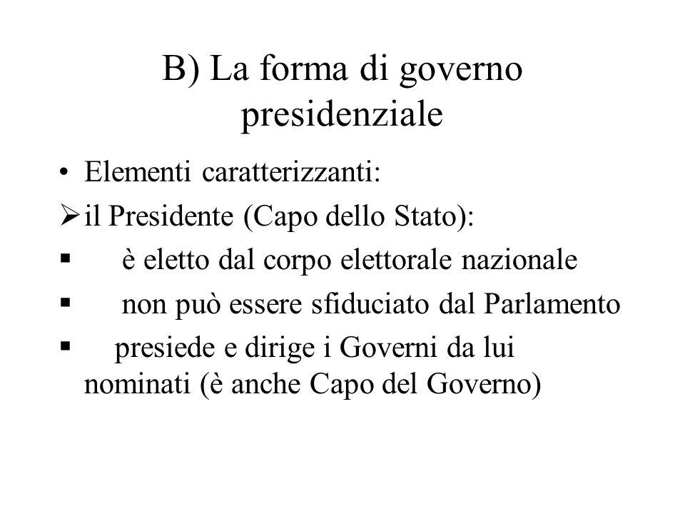 B) La forma di governo presidenziale Elementi caratterizzanti:  il Presidente (Capo dello Stato):  è eletto dal corpo elettorale nazionale  non può
