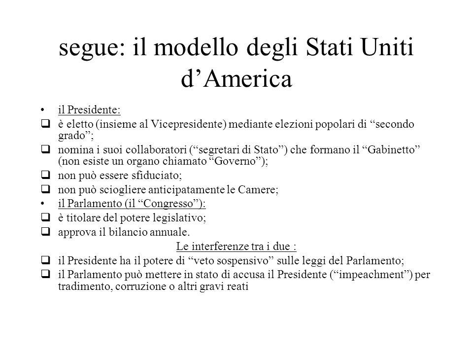 """segue: il modello degli Stati Uniti d'America il Presidente:  è eletto (insieme al Vicepresidente) mediante elezioni popolari di """"secondo grado"""";  n"""