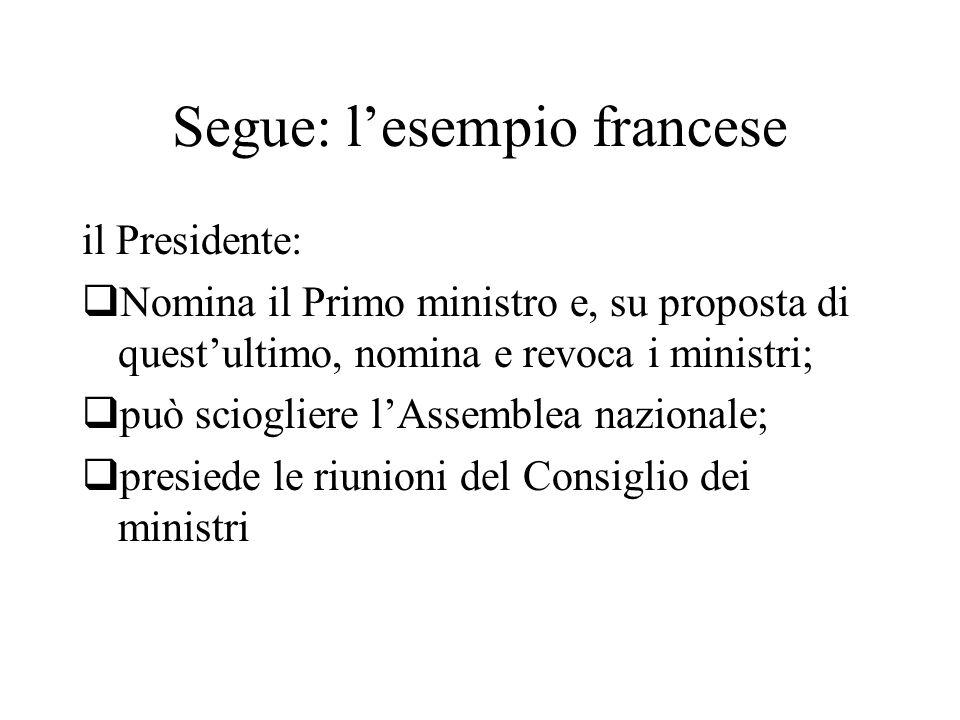Segue: l'esempio francese il Presidente:  Nomina il Primo ministro e, su proposta di quest'ultimo, nomina e revoca i ministri;  può sciogliere l'Assemblea nazionale;  presiede le riunioni del Consiglio dei ministri