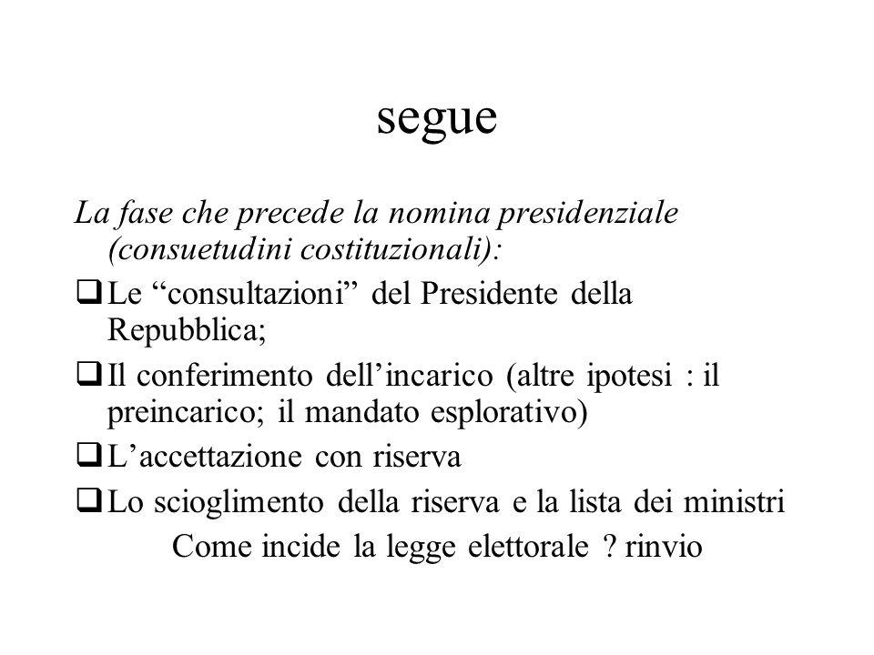 """segue La fase che precede la nomina presidenziale (consuetudini costituzionali):  Le """"consultazioni"""" del Presidente della Repubblica;  Il conferimen"""