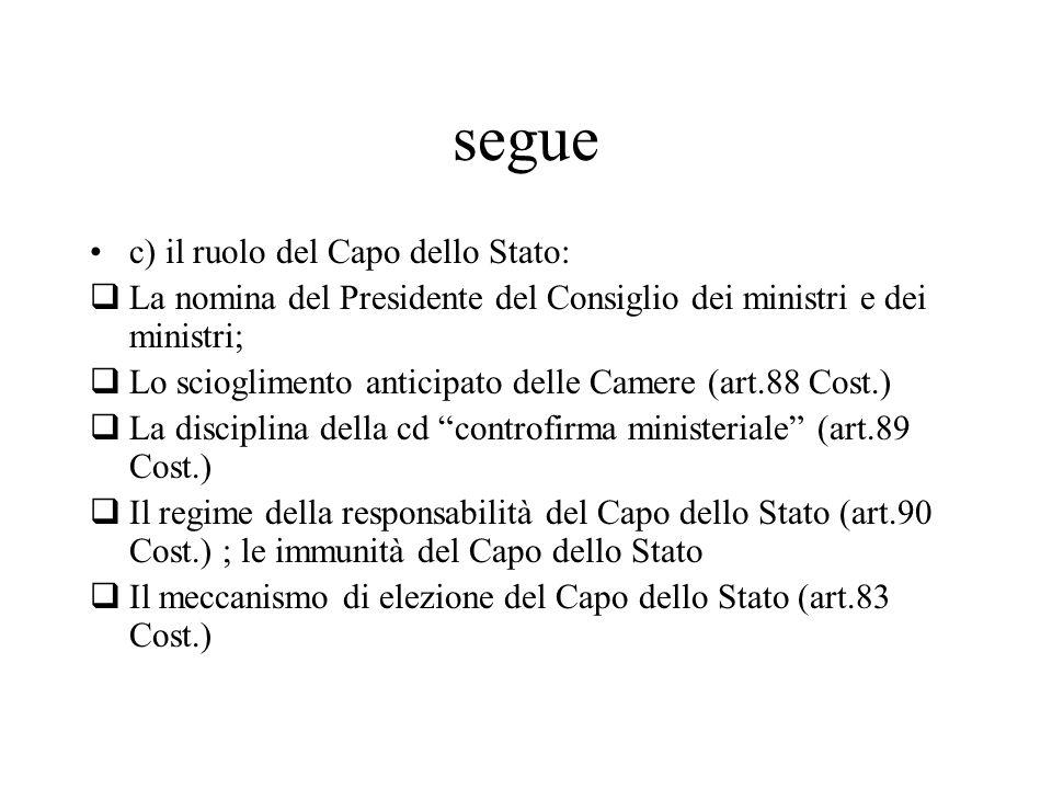segue c) il ruolo del Capo dello Stato:  La nomina del Presidente del Consiglio dei ministri e dei ministri;  Lo scioglimento anticipato delle Camer
