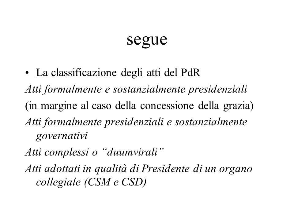 segue La classificazione degli atti del PdR Atti formalmente e sostanzialmente presidenziali (in margine al caso della concessione della grazia) Atti
