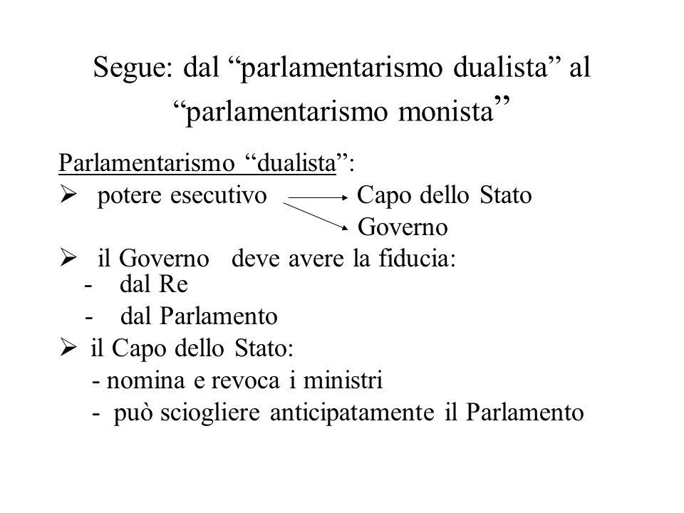 """Segue: dal """"parlamentarismo dualista"""" al """"parlamentarismo monista """" Parlamentarismo """"dualista"""":  potere esecutivo Capo dello Stato Governo  il Gover"""