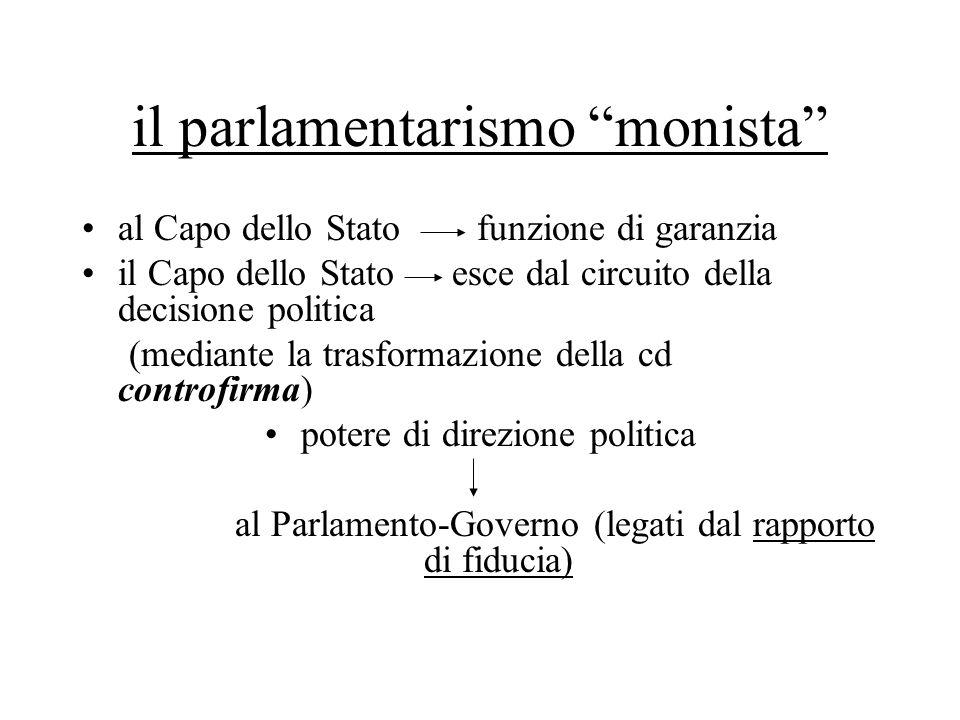 """il parlamentarismo """"monista"""" al Capo dello Stato funzione di garanzia il Capo dello Stato esce dal circuito della decisione politica (mediante la tras"""