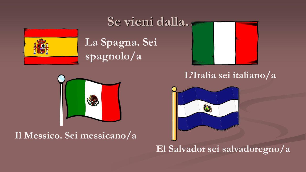 Se vieni dalla… La Spagna. Sei spagnolo/a L'Italia sei italiano/a Il Messico. Sei messicano/a El Salvador sei salvadoregno/a