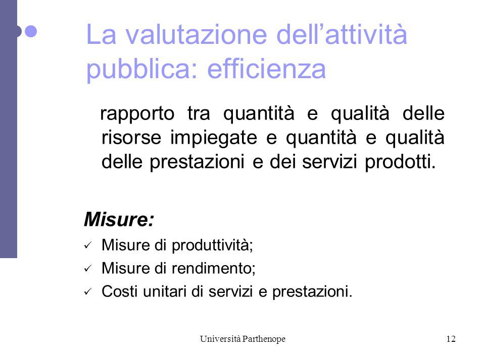 Università Parthenope12 rapporto tra quantità e qualità delle risorse impiegate e quantità e qualità delle prestazioni e dei servizi prodotti.
