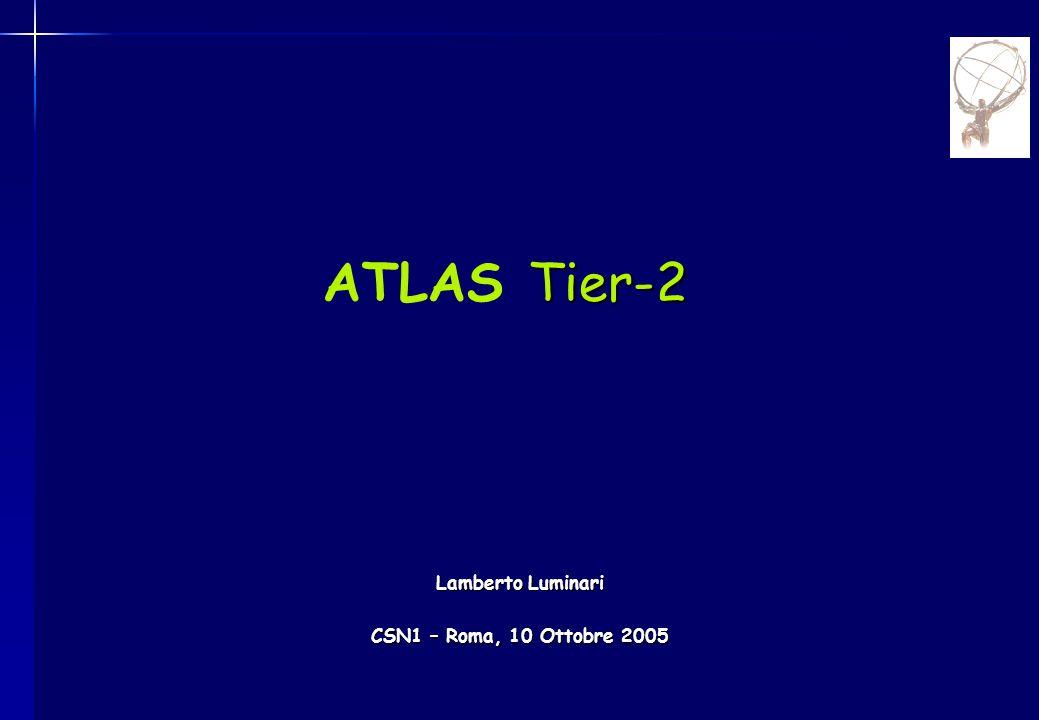 CSN1 - Roma 10/10/2005Lamberto Luminari - ATLAS Tier-22 Event Builder Event Filter ~7.5 MSI2k Tier3 10 GB/sec 320 MB/sec ~ 75MB/s  622Mb/s links ~10 Attività principali nei Tier-2 italiani ~PB/sec Tier2 ~1.5 MSI2k ~4/Tier1 Tier0 5.