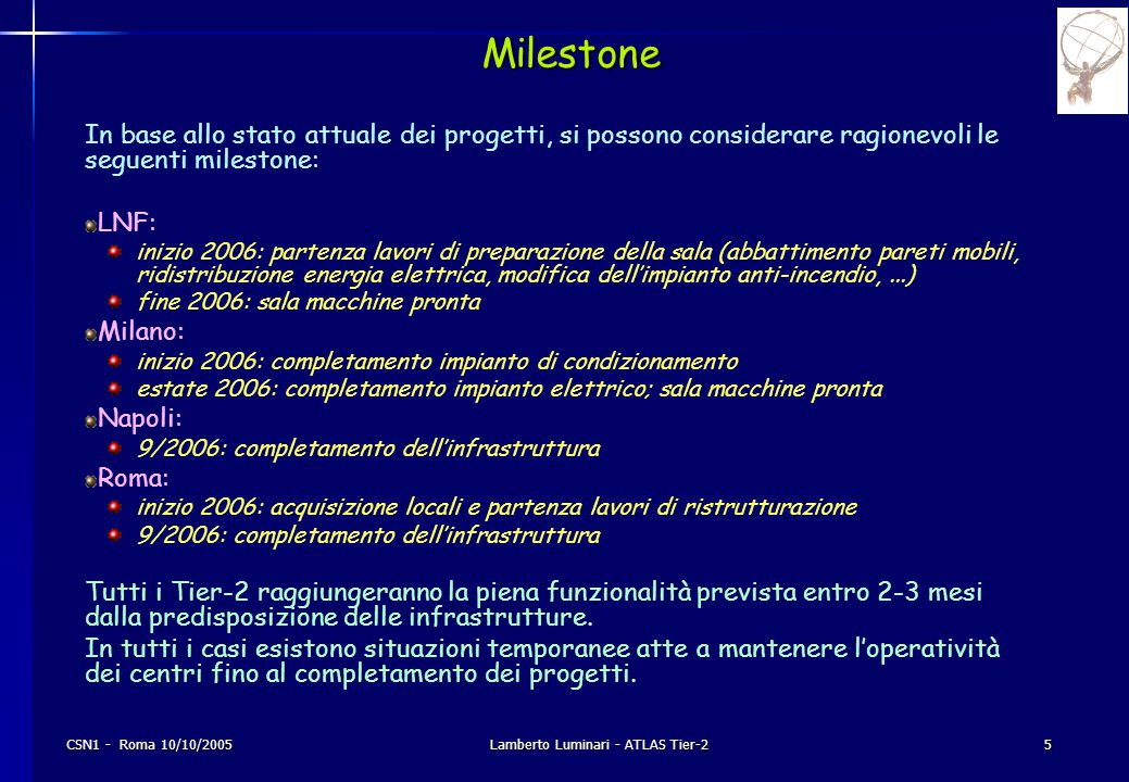 CSN1 - Roma 10/10/2005Lamberto Luminari - ATLAS Tier-25 Milestone In base allo stato attuale dei progetti, si possono considerare ragionevoli le segue