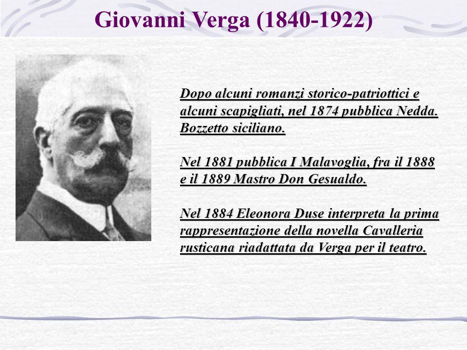 Giovanni Verga (1840-1922) Dopo alcuni romanzi storico-patriottici e alcuni scapigliati, nel 1874 pubblica Nedda.