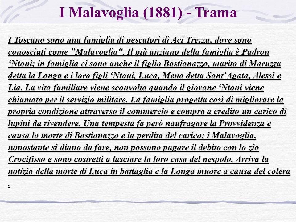 I Malavoglia (1881) - Trama I Toscano sono una famiglia di pescatori di Aci Trezza, dove sono conosciuti come Malavoglia .