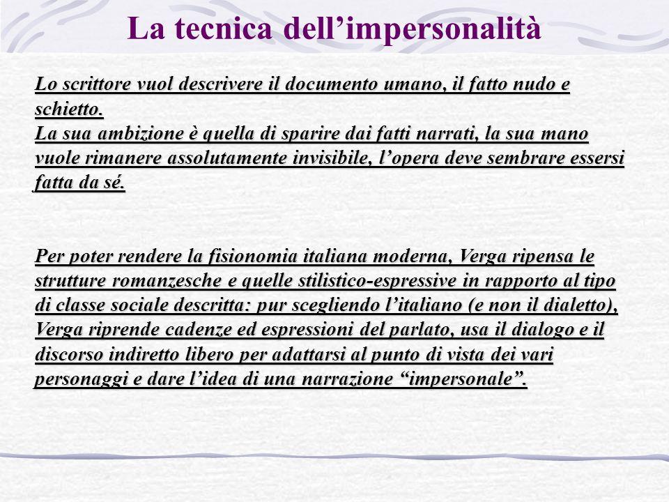 La tecnica dell'impersonalità Lo scrittore vuol descrivere il documento umano, il fatto nudo e schietto.