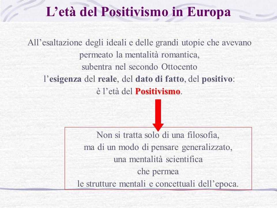 L'età del Positivismo in Europa All'esaltazione degli ideali e delle grandi utopie che avevano permeato la mentalità romantica, subentra nel secondo Ottocento l'esigenza del reale, del dato di fatto, del positivo: Positivismo è l'età del Positivismo.