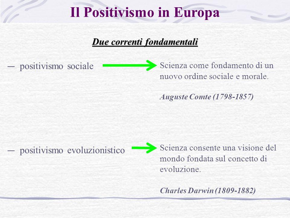 Il Positivismo in Europa Due correnti fondamentali — positivismo sociale — positivismo evoluzionistico Scienza come fondamento di un nuovo ordine sociale e morale.