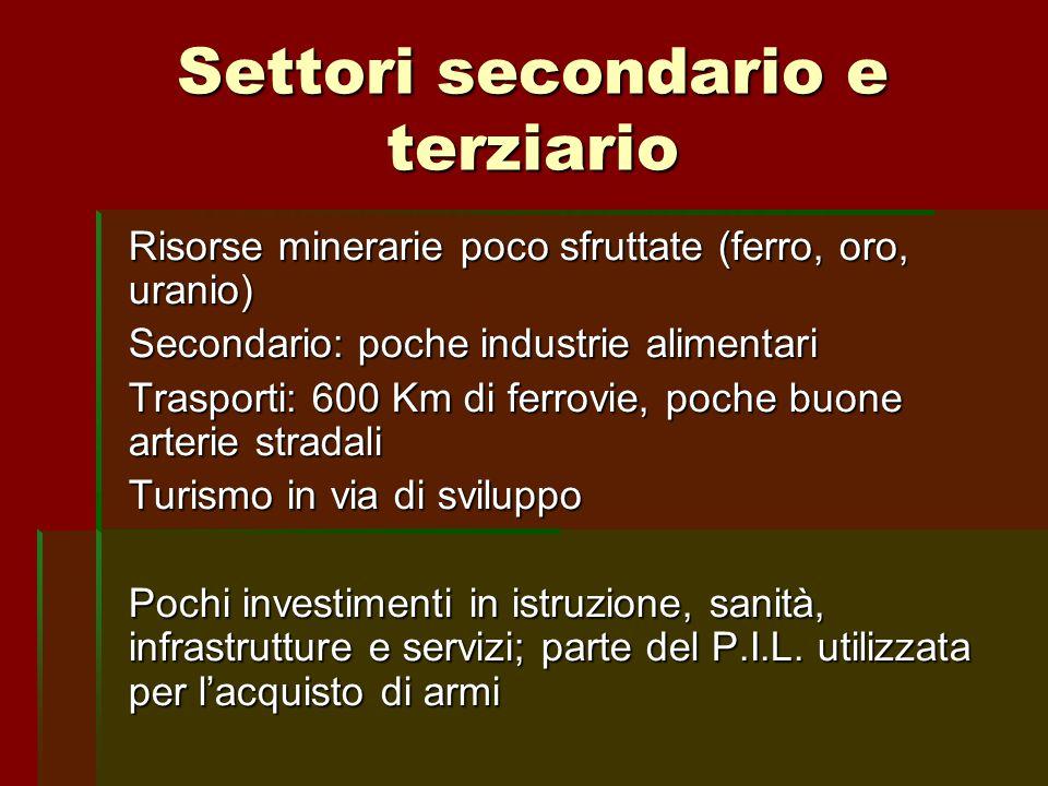 Settori secondario e terziario Risorse minerarie poco sfruttate (ferro, oro, uranio) Secondario: poche industrie alimentari Trasporti: 600 Km di ferro
