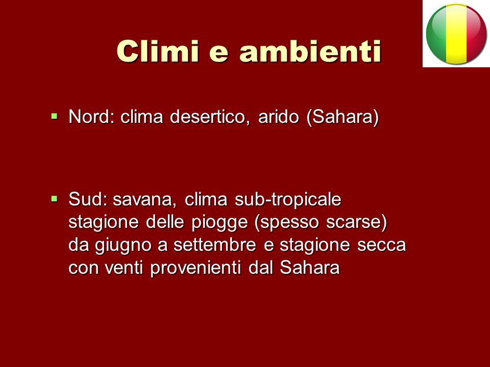 Climi e ambienti  Nord: clima desertico, arido (Sahara)  Sud: savana, clima sub-tropicale stagione delle piogge (spesso scarse) da giugno a settembr
