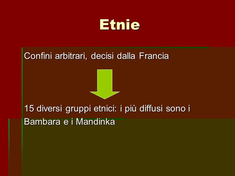 Etnie Confini arbitrari, decisi dalla Francia 15 diversi gruppi etnici: i più diffusi sono i Bambara e i Mandinka