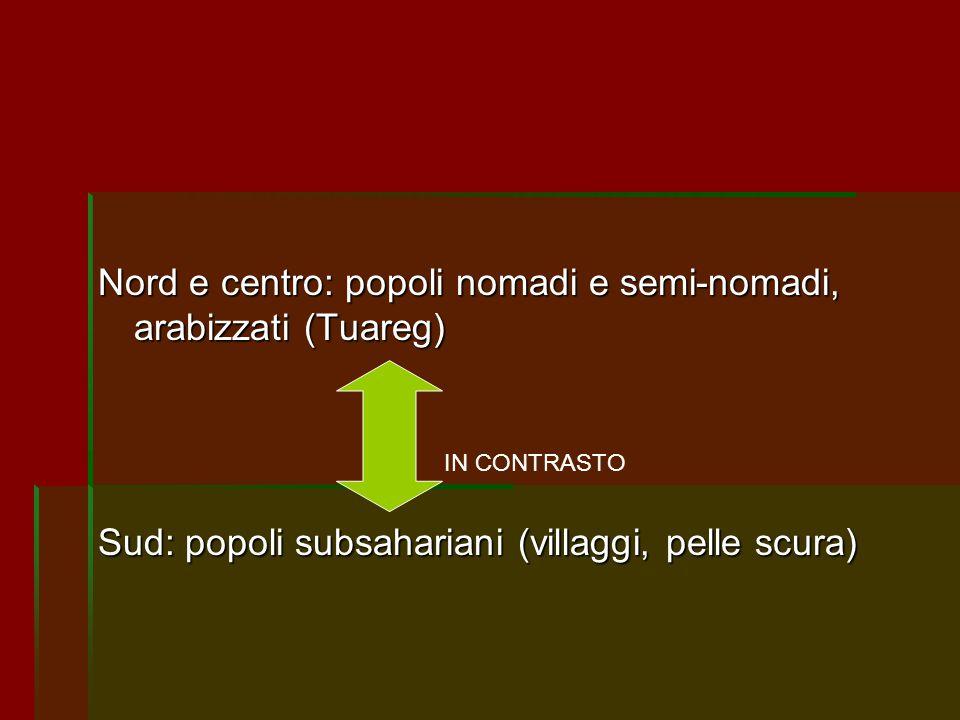 Nord e centro: popoli nomadi e semi-nomadi, arabizzati (Tuareg) Sud: popoli subsahariani (villaggi, pelle scura) IN CONTRASTO