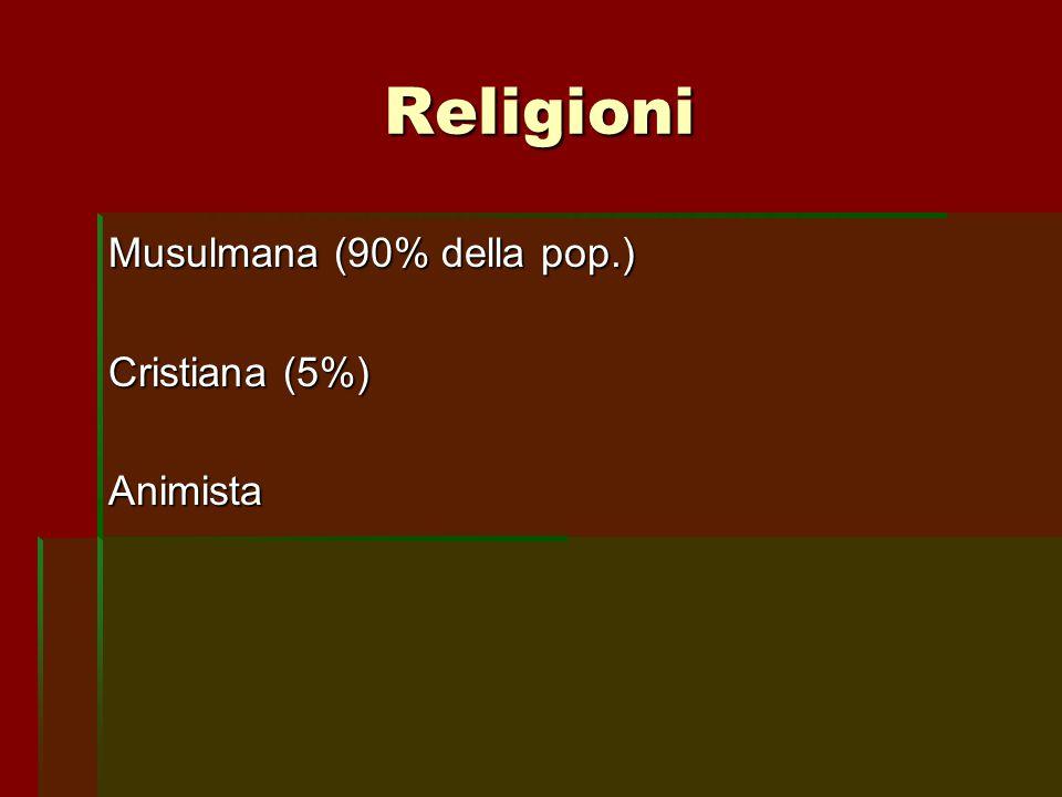 Religioni Musulmana (90% della pop.) Cristiana (5%) Animista