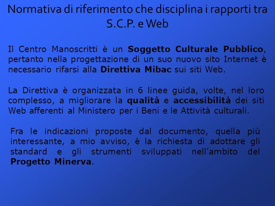 Normativa di riferimento che disciplina i rapporti tra S.C.P.