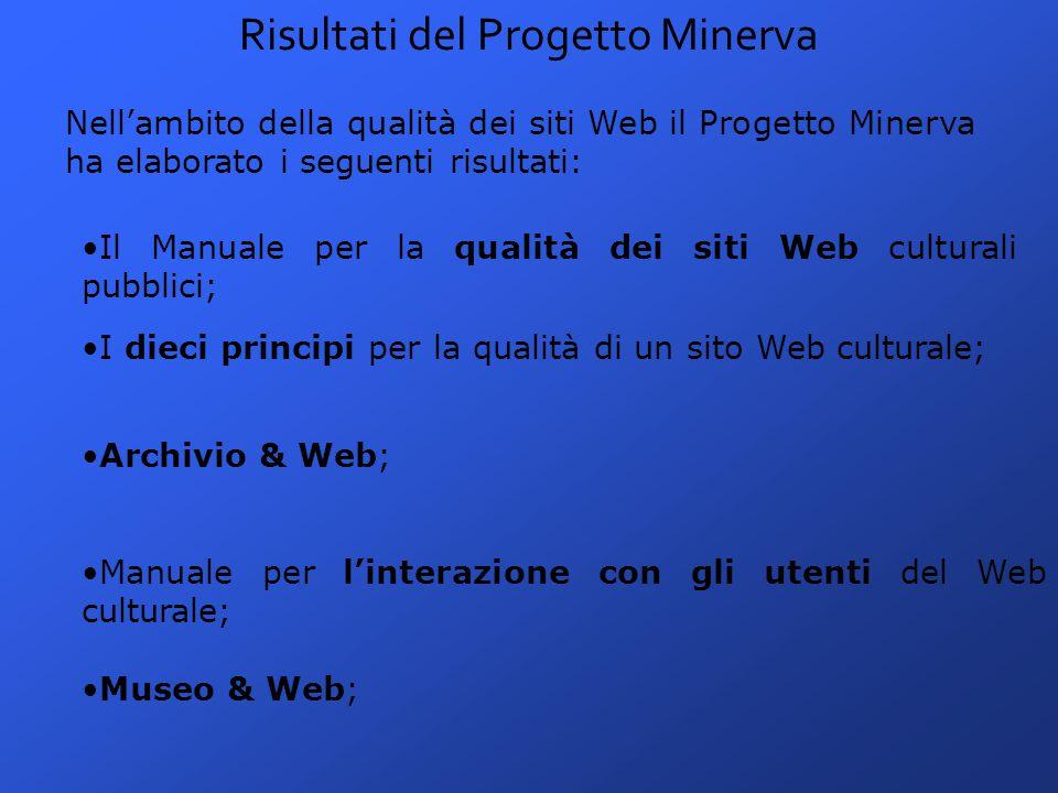 Risultati del Progetto Minerva Nell'ambito della qualità dei siti Web il Progetto Minerva ha elaborato i seguenti risultati: Il Manuale per la qualità dei siti Web culturali pubblici; I dieci principi per la qualità di un sito Web culturale; Archivio & Web; Manuale per l'interazione con gli utenti del Web culturale; Museo & Web;