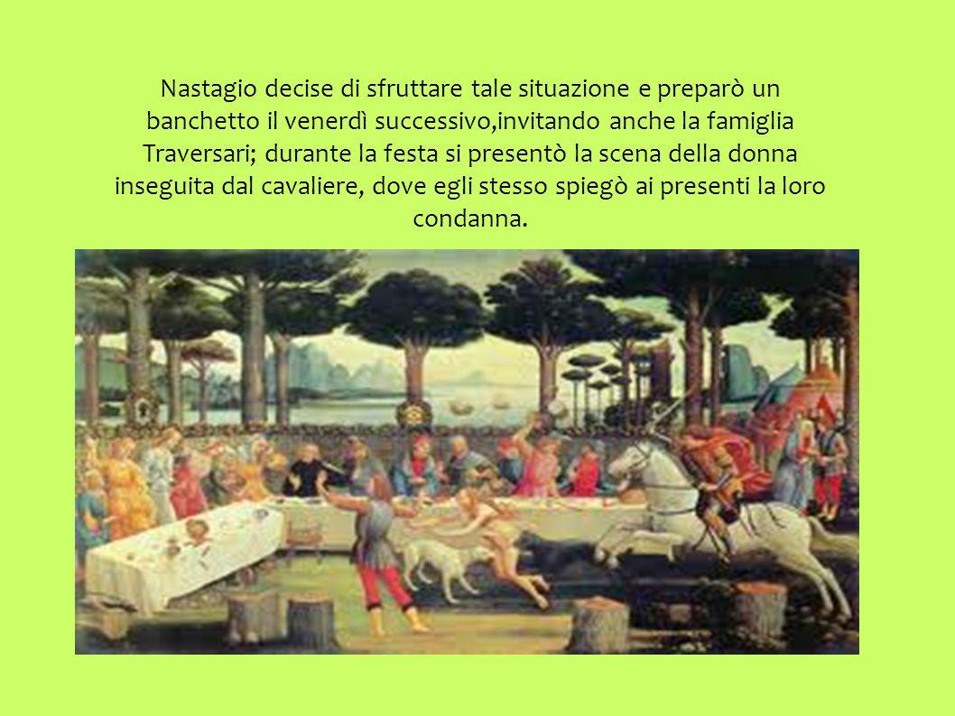 Il cavaliere,Guido degli Anastagi,gli disse che era un suo antenato e che tempo fa amava la donna che insegue,dato che ella non lo ricambiava..lui si