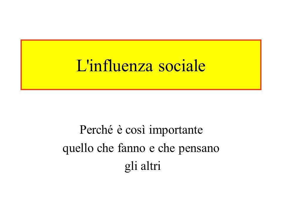 L'influenza sociale Perché è così importante quello che fanno e che pensano gli altri