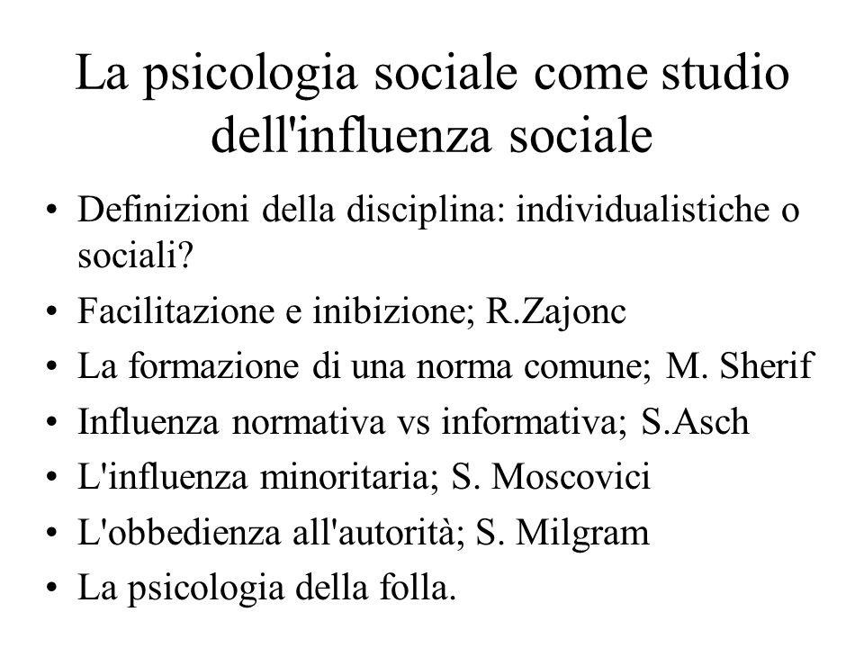 La psicologia sociale come studio dell'influenza sociale Definizioni della disciplina: individualistiche o sociali? Facilitazione e inibizione; R.Zajo