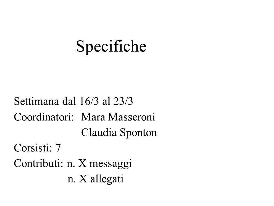 Specifiche Settimana dal 16/3 al 23/3 Coordinatori: Mara Masseroni Claudia Sponton Corsisti: 7 Contributi: n.