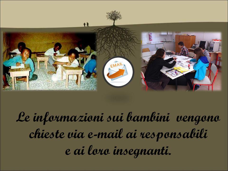 Le informazioni sui bambini vengono chieste via e-mail ai responsabili e ai loro insegnanti.