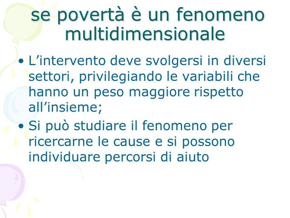 se povertà è un fenomeno multidimensionale se povertà è un fenomeno multidimensionale L'intervento deve svolgersi in diversi settori, privilegiando le variabili che hanno un peso maggiore rispetto all'insieme; Si può studiare il fenomeno per ricercarne le cause e si possono individuare percorsi di aiuto