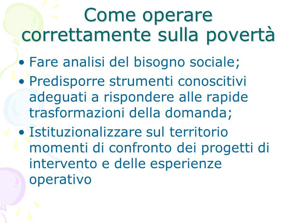 Come operare correttamente sulla povertà Fare analisi del bisogno sociale; Predisporre strumenti conoscitivi adeguati a rispondere alle rapide trasformazioni della domanda; Istituzionalizzare sul territorio momenti di confronto dei progetti di intervento e delle esperienze operativo
