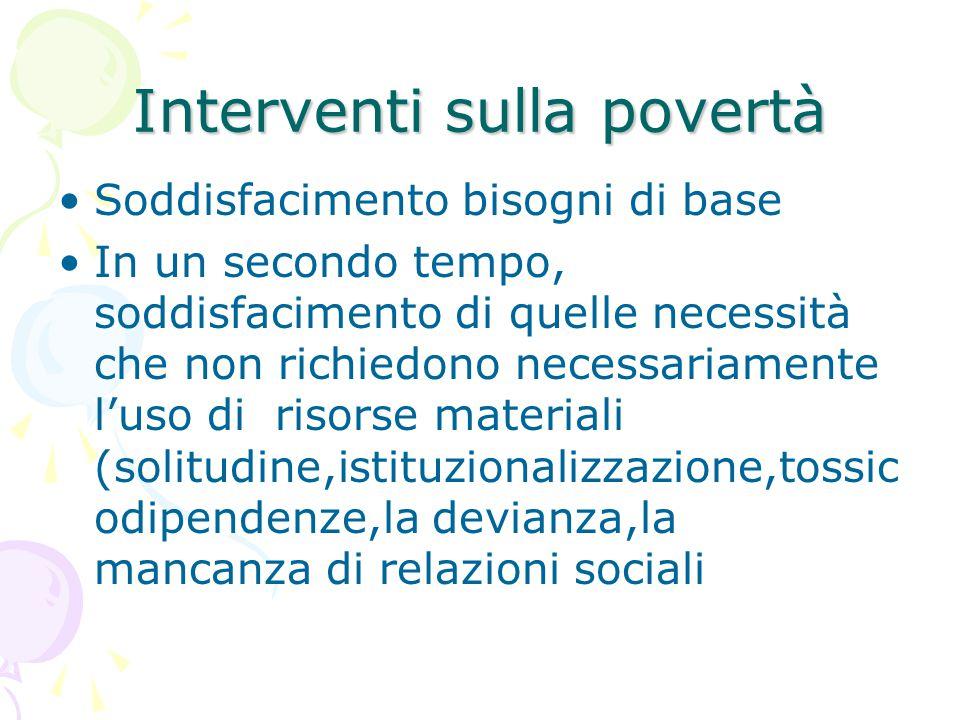 Interventi sulla povertà Soddisfacimento bisogni di base In un secondo tempo, soddisfacimento di quelle necessità che non richiedono necessariamente l'uso di risorse materiali (solitudine,istituzionalizzazione,tossic odipendenze,la devianza,la mancanza di relazioni sociali