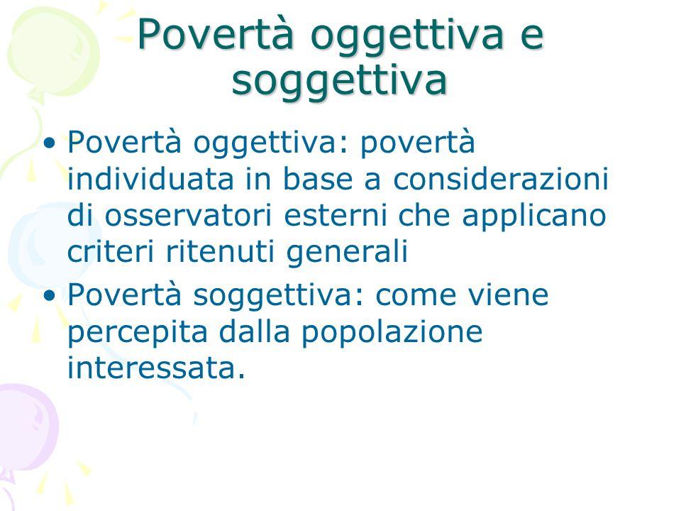 Povertà oggettiva e soggettiva Povertà oggettiva: povertà individuata in base a considerazioni di osservatori esterni che applicano criteri ritenuti generali Povertà soggettiva: come viene percepita dalla popolazione interessata.